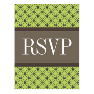 Green Fancy Lattice RSVP Postcard