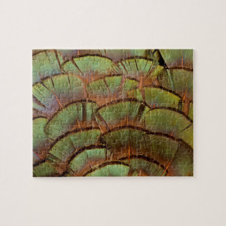 Green fanned Pheasant feather Jigsaw Puzzle