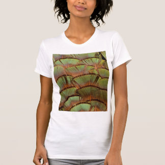 Green fanned Pheasant feather T-Shirt