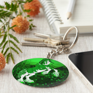 Green Fantasy Clydesdale Horse Clover Keychain