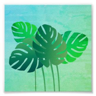 Green Fantasy Watercolor Tropical Leaves Poster