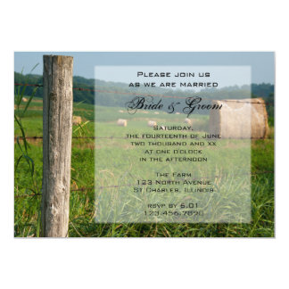 "Green Farm Pastures Country Wedding 5"" X 7"" Invitation Card"