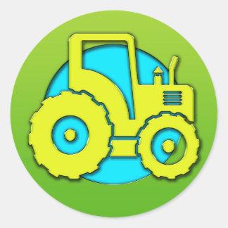 Green Farm Tractor Classic Round Sticker