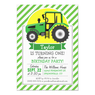 Green Farm Tractor with Yellow;  Green & White Invite
