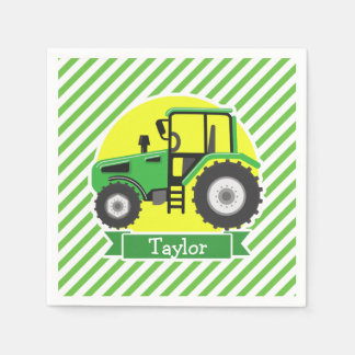 Green Farm Tractor with Yellow;  Green & White Paper Napkins
