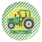 Green Farm Tractor with Yellow;  Green & White Plate