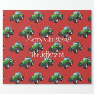 Green Farm Tractors on Red Christmas Wrapping Paper