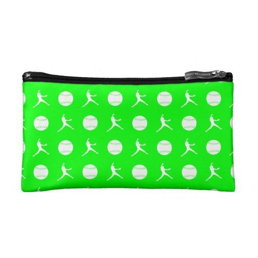 Green Fastpitch Pattern Clutch Makeup Bag