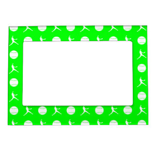 Green Fastpitch Pattern Magnetic Picture Frame
