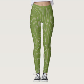 Green Faux Bois Leggings