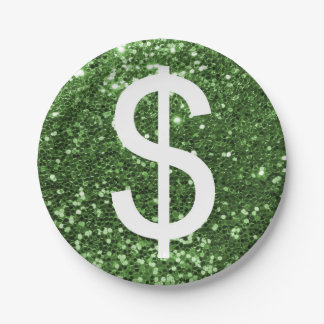 Green Faux Glitter Dollar Sign Pattern Paper Plate