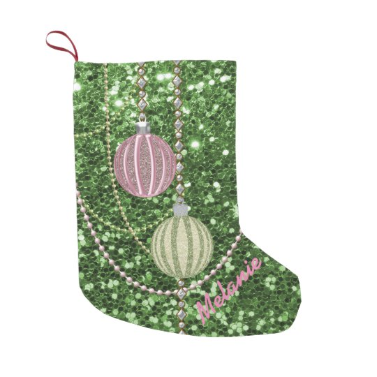 Green Faux Glitter Pink & Green Ornament Balls Small Christmas Stocking
