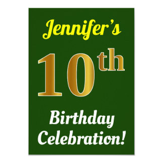 Green, Faux Gold 10th Birthday Celebration + Name Card