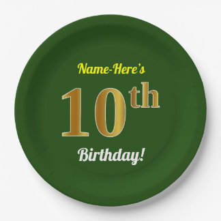 Green, Faux Gold 10th Birthday + Custom Name Paper Plate