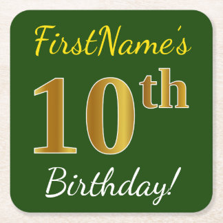 Green, Faux Gold 10th Birthday + Custom Name Square Paper Coaster