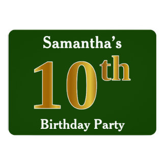 Green, Faux Gold 10th Birthday Party + Custom Name Card