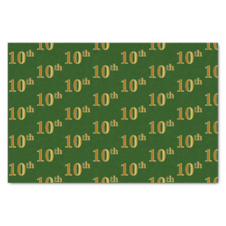 Green, Faux Gold 10th (Tenth) Event Tissue Paper