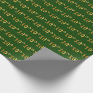 Green, Faux Gold 10th (Tenth) Event Wrapping Paper