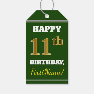 Green, Faux Gold 11th Birthday + Custom Name Gift Tags