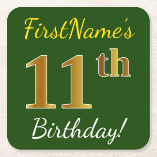 Green, Faux Gold 11th Birthday + Custom Name Square Paper Coaster