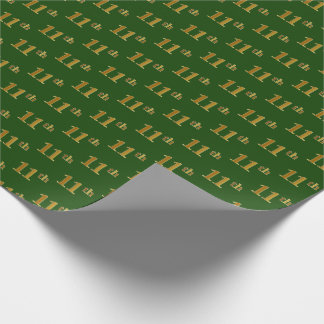 Green, Faux Gold 11th (Eleventh) Event Wrapping Paper