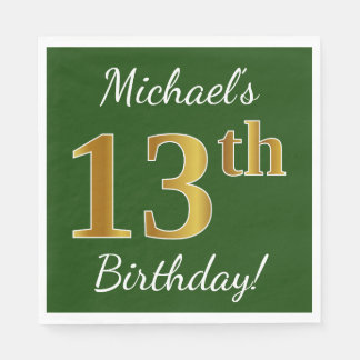 Green, Faux Gold 13th Birthday + Custom Name Paper Napkin