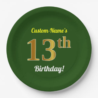 Green, Faux Gold 13th Birthday + Custom Name Paper Plate