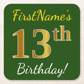 Green, Faux Gold 13th Birthday + Custom Name Square Paper Coaster