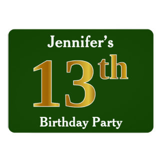 Green, Faux Gold 13th Birthday Party + Custom Name Card