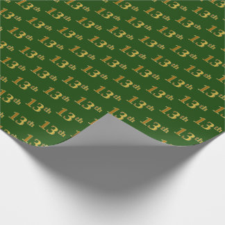 Green, Faux Gold 13th (Thirteenth) Event Wrapping Paper