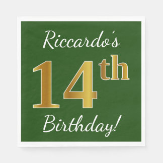 Green, Faux Gold 14th Birthday + Custom Name Disposable Napkins