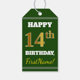 Green, Faux Gold 14th Birthday + Custom Name Gift Tags