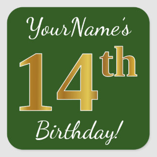 Green, Faux Gold 14th Birthday + Custom Name Square Sticker