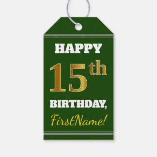Green, Faux Gold 15th Birthday + Custom Name Gift Tags