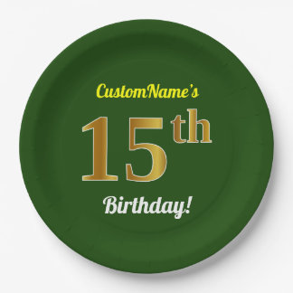 Green, Faux Gold 15th Birthday + Custom Name Paper Plate