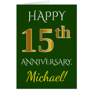 Green, Faux Gold 15th Wedding Anniversary + Name Card