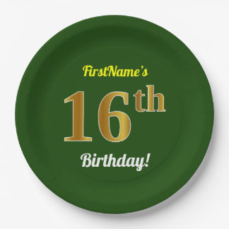 Green, Faux Gold 16th Birthday + Custom Name Paper Plate