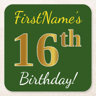 Green, Faux Gold 16th Birthday + Custom Name Square Paper Coaster