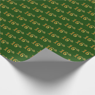 Green, Faux Gold 16th (Sixteenth) Event Wrapping Paper
