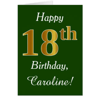Green, Faux Gold 18th Birthday + Custom Name Card