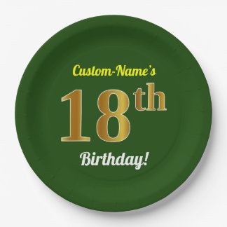 Green, Faux Gold 18th Birthday + Custom Name Paper Plate