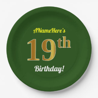 Green, Faux Gold 19th Birthday + Custom Name Paper Plate