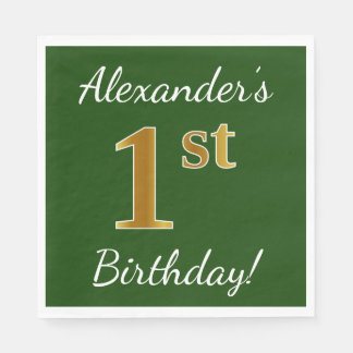 Green, Faux Gold 1st Birthday + Custom Name Disposable Napkin
