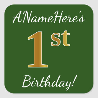Green, Faux Gold 1st Birthday + Custom Name Square Sticker