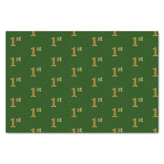 Green, Faux Gold 1st (First) Event Tissue Paper