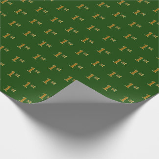 Green, Faux Gold 1st (First) Event Wrapping Paper