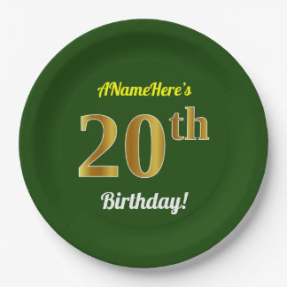 Green, Faux Gold 20th Birthday + Custom Name Paper Plate