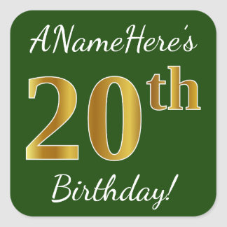 Green, Faux Gold 20th Birthday + Custom Name Square Sticker