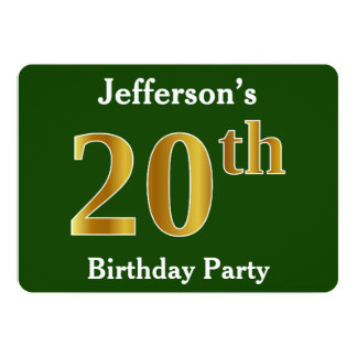 Green, Faux Gold 20th Birthday Party + Custom Name Card