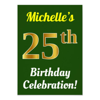 Green, Faux Gold 25th Birthday Celebration + Name Card